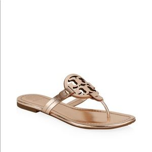 Tory Burch Miller Metallic Leather Thong S…